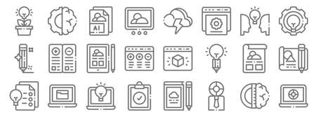 design thinking line icons. linear set. quality vector line.