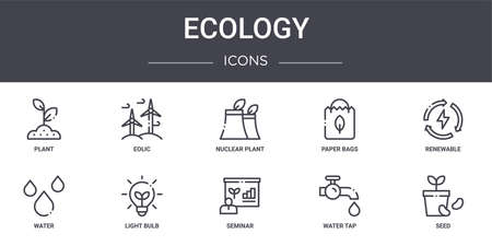 10 ecology concept line icons set.