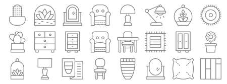interiors line icons. linear set. quality vector line. Ilustrace