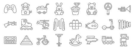 children toys line icons. linear set. quality vector line. 일러스트