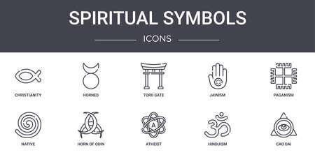 set of 10 spiritual symbols concept line icons. Vecteurs