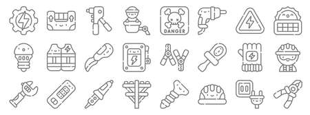 electrician tools and line icons. linear set. quality vector line.