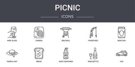 10 picnic concept line icons set.