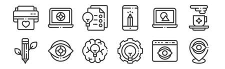 12 set of linear design thinking icons. thin outline.