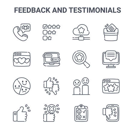 set of 16 feedback and testimonials concept vector line icons.