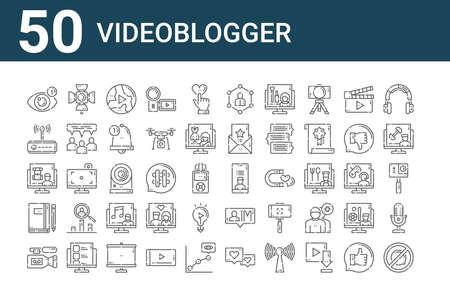 set of 50 videoblogger icons. outline thin line. Ilustração