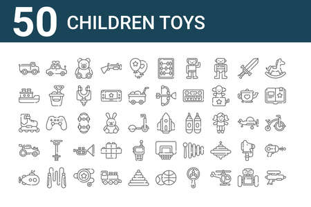 set of 50 children toys icons. outline thin line. 일러스트