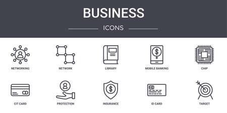 10 business concept line icons set. Ilustração