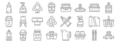 plastic products line icons. linear set. quality vector line.