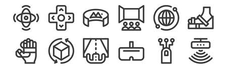 12 set of linear virtual reality icons. thin outline.