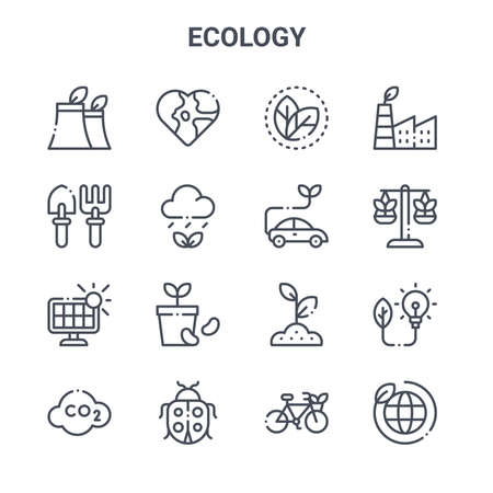 set of 16 ecology concept vector line icons. Ilustracja