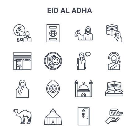 set of 16 eid al adha concept vector line icons. Vettoriali