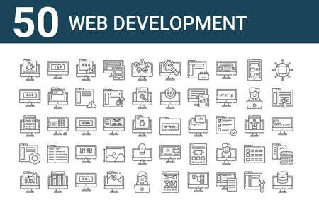 set of 50 web development icons. outline thin line Ilustração
