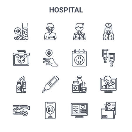 set of 16 hospital concept vector line icons.