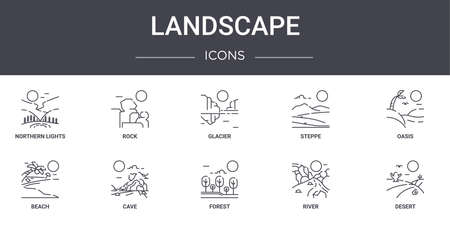 10 landscape concept line icons set.
