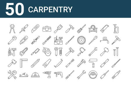 set of 50 carpentry icons. thin outline