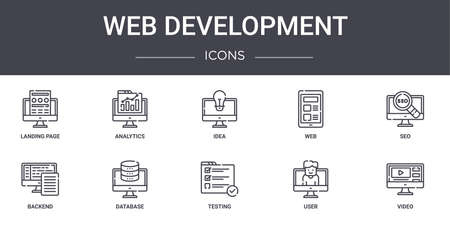10 web development concept line icons set. Ilustrace