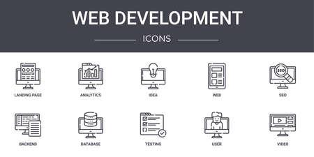 set of 10 web development concept line icons.