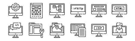 12 set of linear web development icons. thin outline.