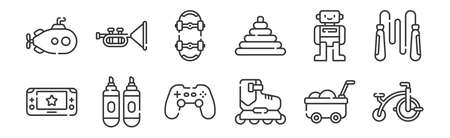 12 set of linear children toys icons. thin outline