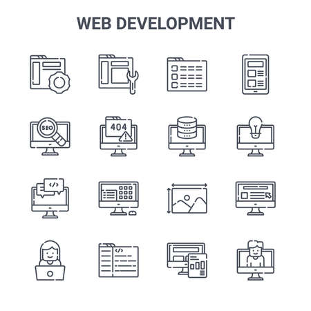 set of 16 web development concept vector line icons.