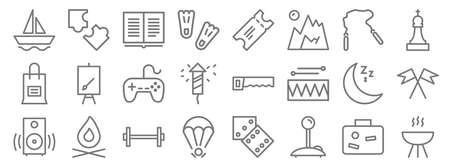 activities line icons. linear set. quality vector line.