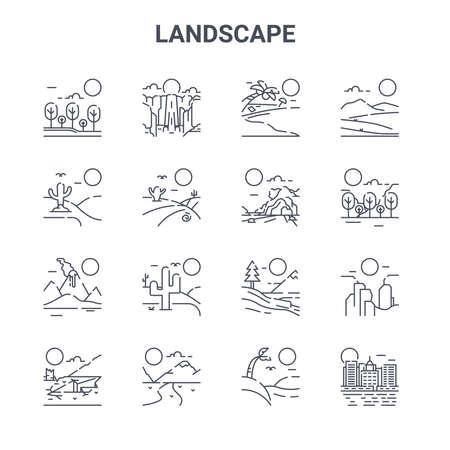 set of 16 landscape concept vector line icons
