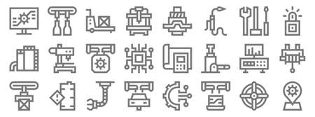 manufacturing line icons. linear set. quality vector line.