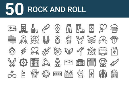 set of 50 rock and roll icons. outline thin line.
