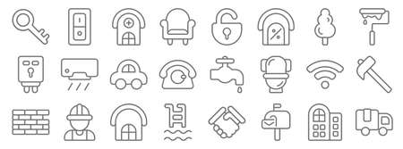 property line icons. linear set. quality vector line.