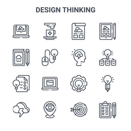 set of 16 design thinking concept vector line icons.