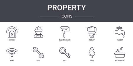 10 property concept line icons set.