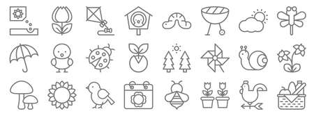 spring line icons. linear set. quality vector line.