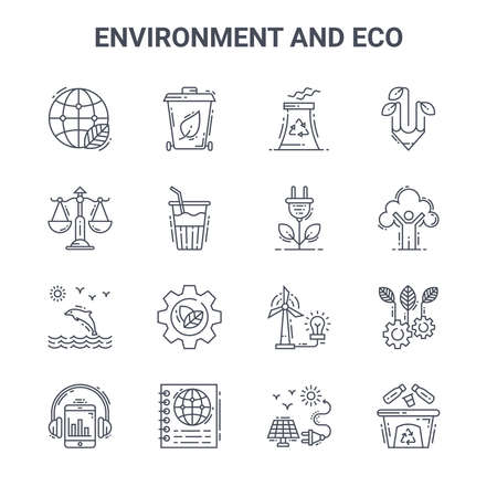 set of 16 environment and eco concept vector line icons. Vettoriali