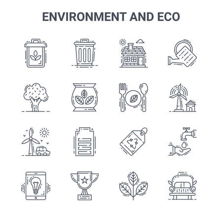 set of 16 environment and eco concept vector line icons.