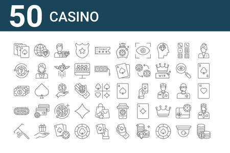 set of 50 casino icons. outline thin line.