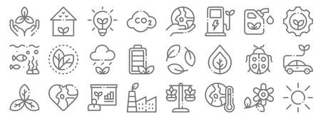 ecology line icons. linear set. quality vector line.