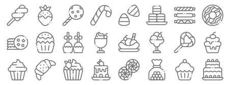 desserts candies line icons. linear set. quality vector line.
