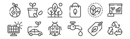 12 set of linear ecology icons. thin outline. Ilustracja