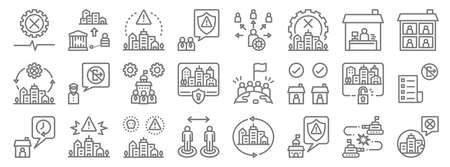 lockdown line icons. linear set. quality vector line.
