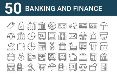 set of 50 banking and finance icons. outline thin line.