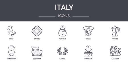 set of 10 italy concept line icons.