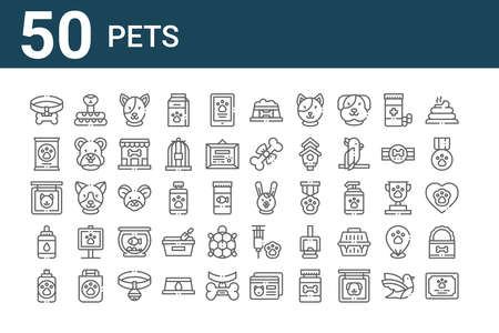 set of 50 pets icons. outline thin line
