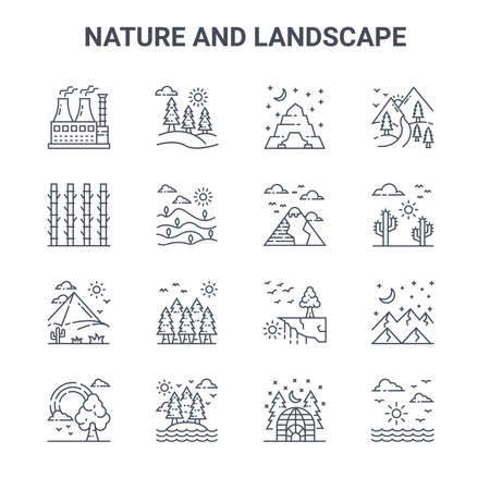 set of 16 nature and landscape concept vector line icons. Ilustrace