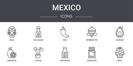 set of 10 mexico concept line icons. Vettoriali