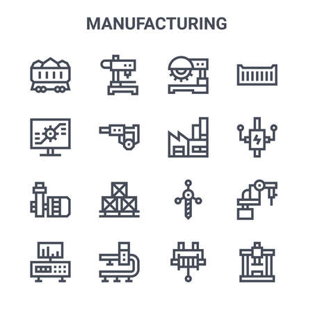 set of 16 manufacturing concept vector line icons.