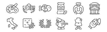 12 set of linear italy icons. thin outline 向量圖像