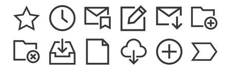 12 set of linear email icons. thin outline 일러스트