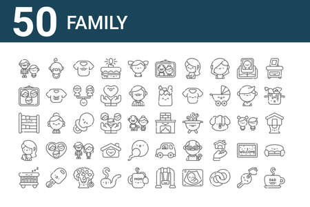 set of 50 family icons. outline thin line
