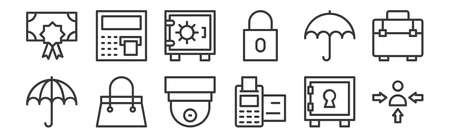 12 set of linear banking and finance flat icons icons. thin outline Ilustração
